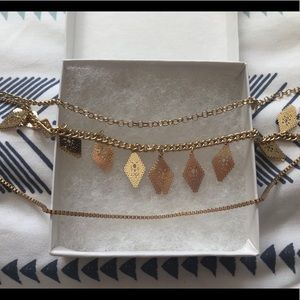 Nordstrom Gold 3-Chain Long Necklace